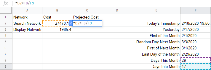Calculating projected ad spend in Google Sheets