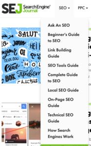 Search Engine Journal SEO Menu
