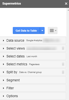 Example showing how to pull Supermetrics data into Google Sheets