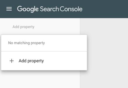 "Google Search Console menu ""Add property"" option"
