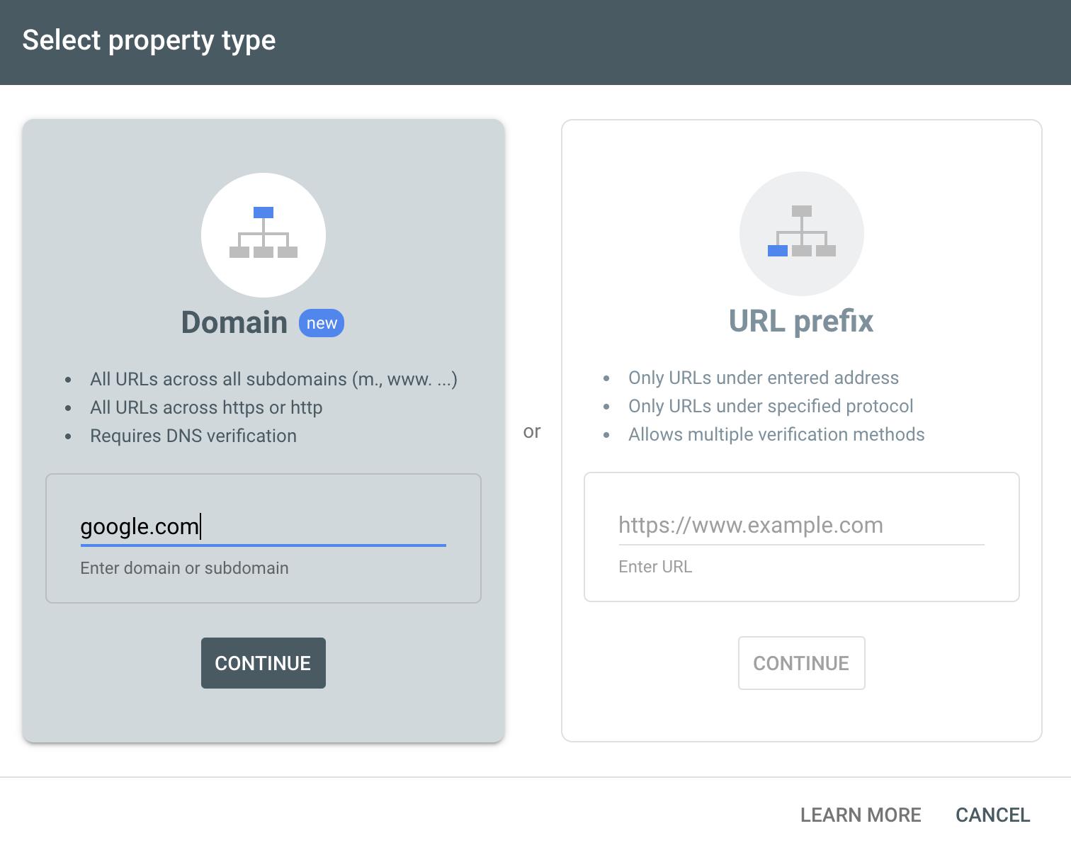 "Google Search Console menu ""Select property type"" page"