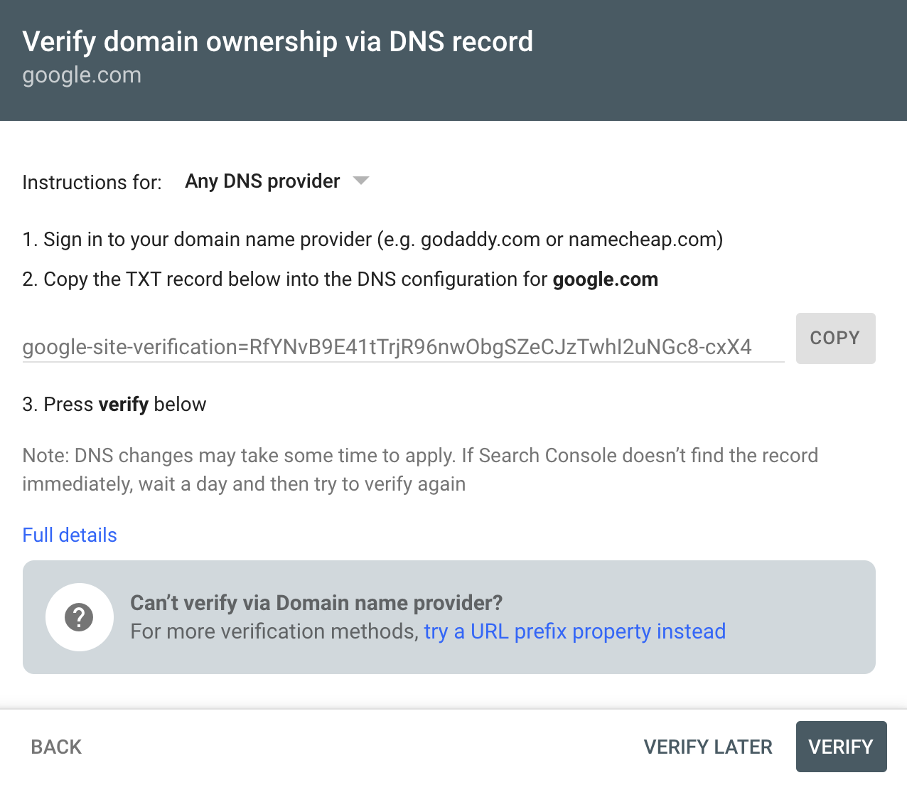 Google Search Console page - Verify domain ownership via DNS record