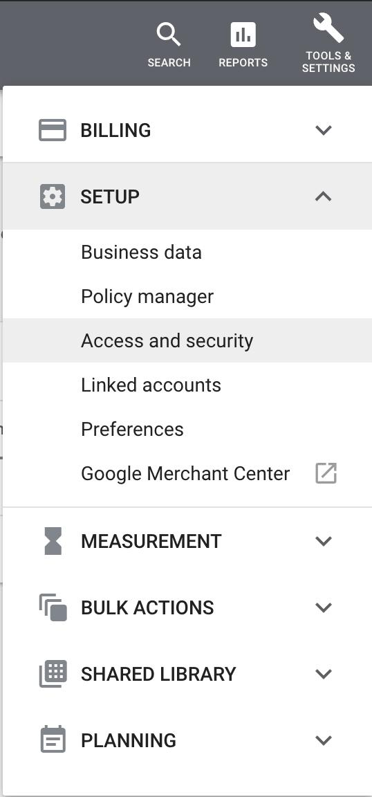 Google Ads Menu - Access and security