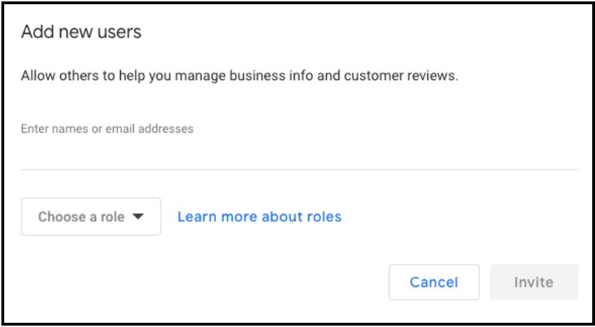 """Send Invitation"" page on Google My Business"