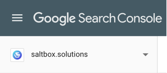 Google Search Console property menu