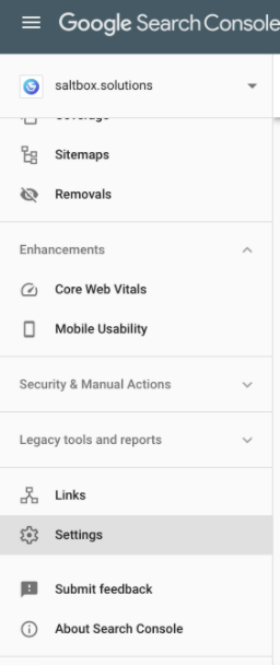 "Picture of the Google Search Console menu with ""Settings"" highlighted"