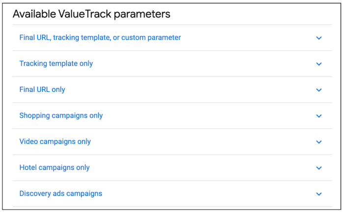list of available ValueTrack Parameters