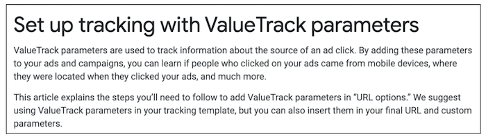 "Guide reading ""Set Up Tracking with ValueTrack Parameters"""