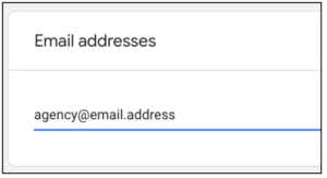 agency email address option in Google Tag Manager