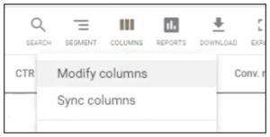 Google Ads Modify columns menu