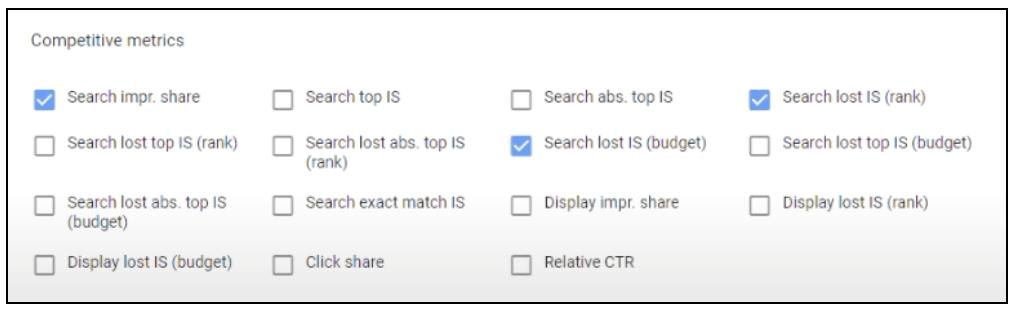 Competitive metrics menu in Google Ads